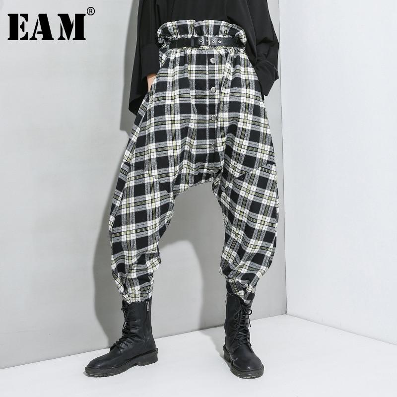 [EAM] High Elastic Waist Black Plaid Stitch Long Harem Trousers New Loose Fit Pants Women Fashion Tide Spring Autumn 2020 1R940