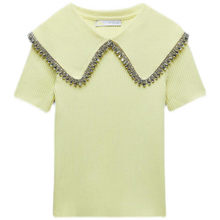 2021 new women's fashionable yellow knitted lapel button short-sleeved T-shirt top