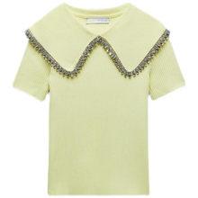 2021 nova moda feminina amarelo de malha lapela botão de manga curta camiseta