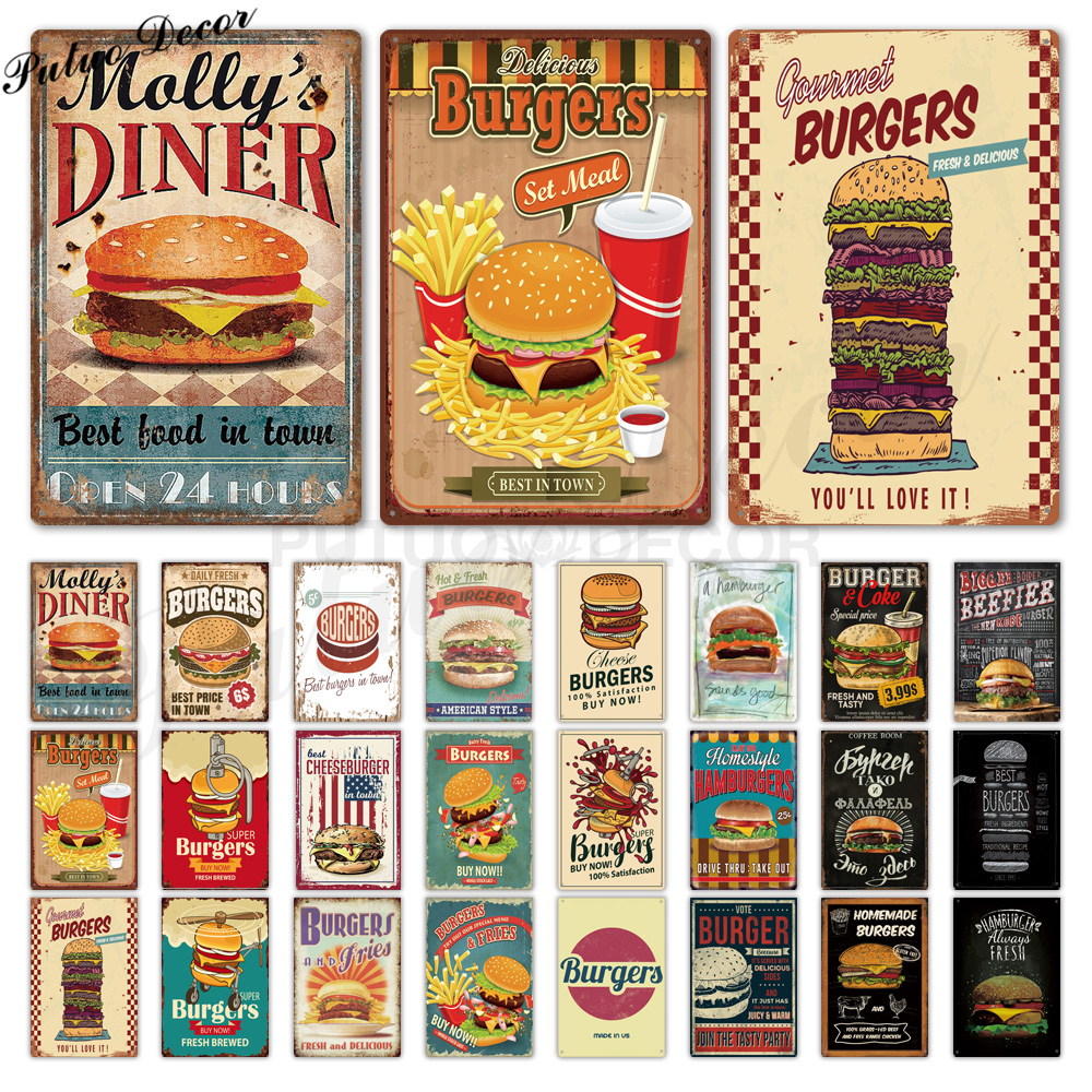 Hamburger Metal Sign Plaque Metal Vintage Fast Food Tin Sign Wall Decor for  Kitchen Cafe Diner Bar Burger Metal Signs(17x17cm)