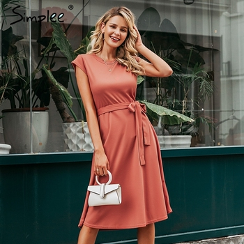 Simplee A-line women knitted sweater dress elegant Short sleeve belt  winter dress O-neck solid sheath autumn female midi dress