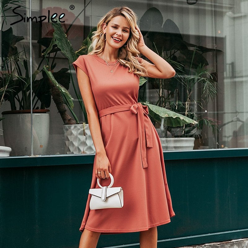 Simplee A-line Women Knitted Sweater Dress Elegant Short Sleeve Belt  Winter Dress O-neck Solid Sheath Autumn Female Midi Dress