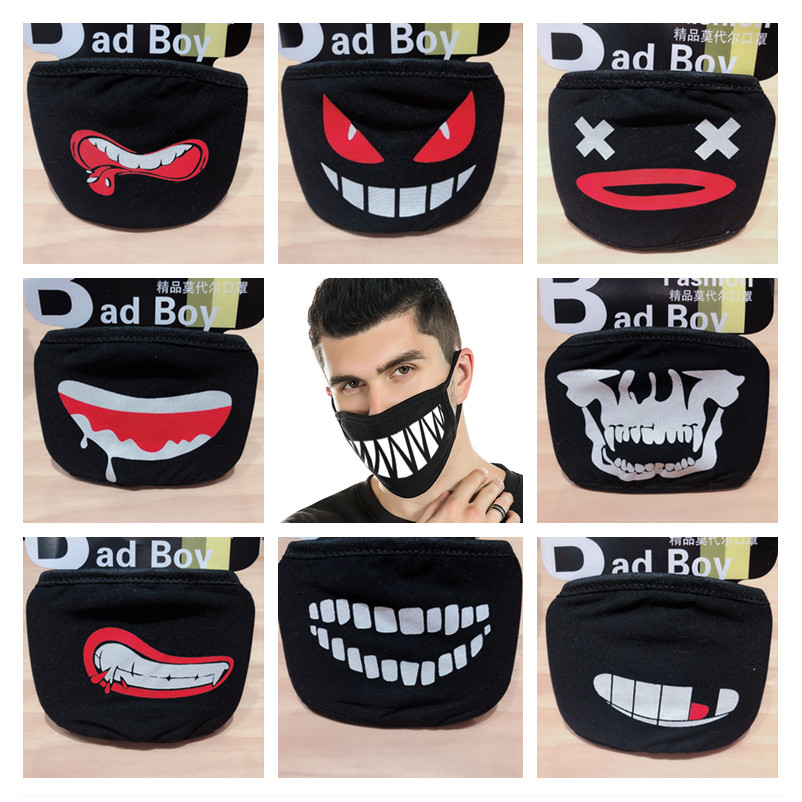 Halloween Decor Dustproof Mouth Face Mask Cartoon Patterned Mouth Masks Women Men Cosplay Party Masks Halloween Decoration Props