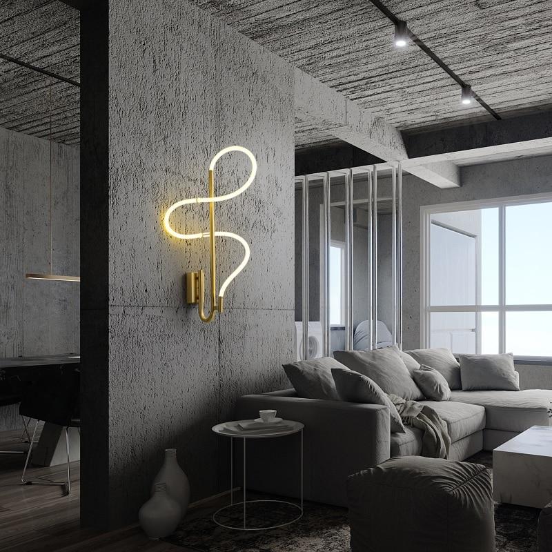 Mangueira moderna conduziu a decoração da lâmpada de parede para corredor cabeceira ouro brilho curva cobre arandela iluminação interior casa luminárias