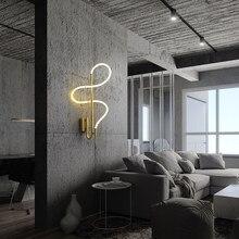 Modern LED Hose Wall Lamp Decoration for Corridor Bedside Aisle Gold Luster Curve Copper Sconce Interior Lighting Home Fixtures