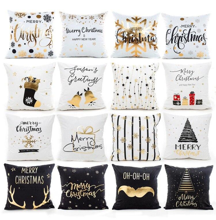 H078d38c4d3884e7c84a25a61658cc399k Christmas Pillow Coussin Cartoon Geometric Cushions Case Christmas Home Decorative Cushion For Sofa Xmas DIY Soft hug Pillowcase