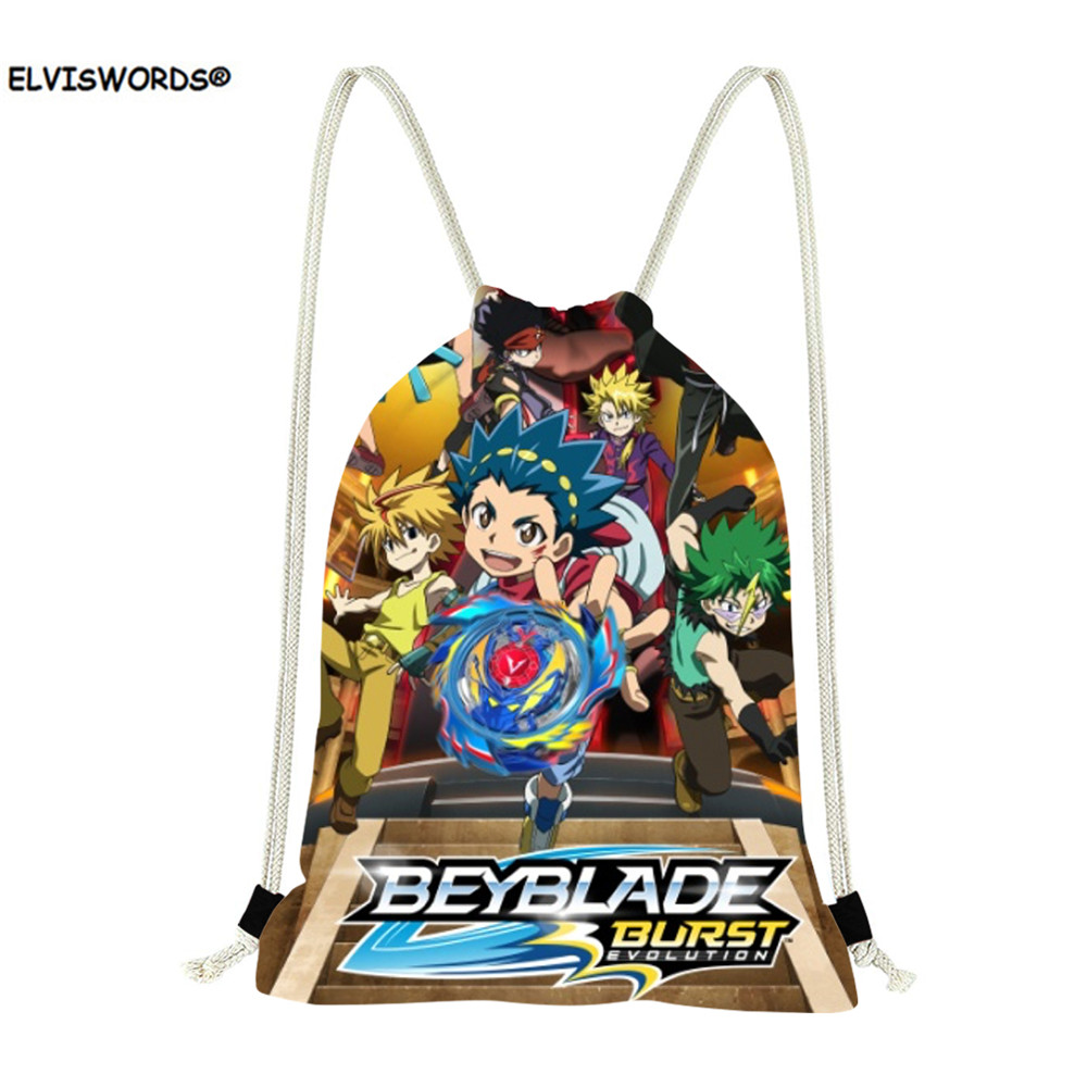 ELVISWORDS Anime Beyblade Burst Evolution Kids Boys  Drawstring Bag Casual Small Schoolbags For Children Storage Shoulder Bags