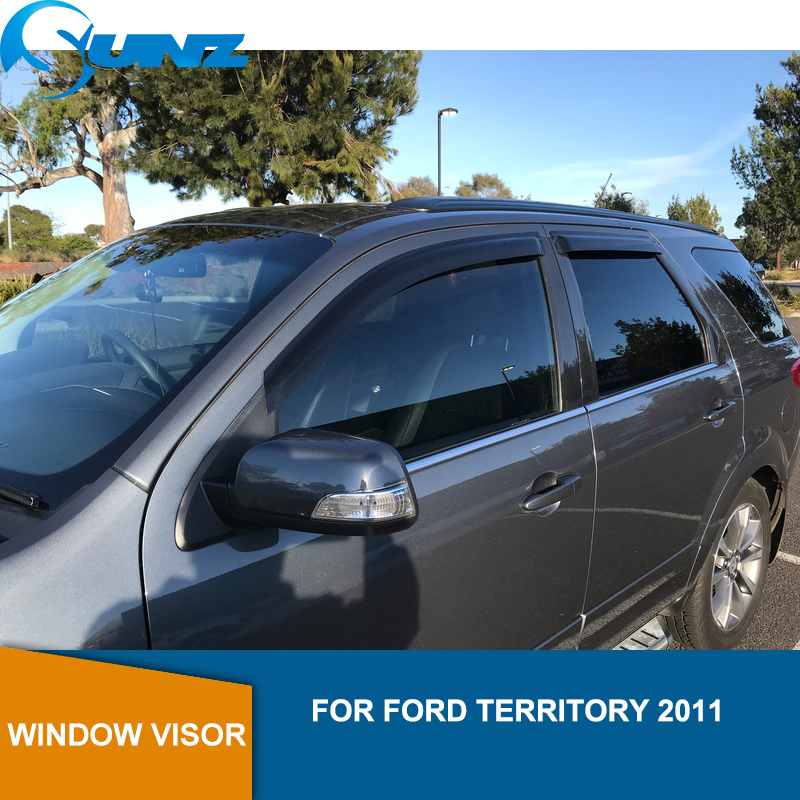 Black Side window deflectors For Ford Territory 2011 Window Visor Vent Shade Sun Rain Deflector Guard Car Styling SUNZ-in Awnings & Shelters from Automobiles & Motorcycles