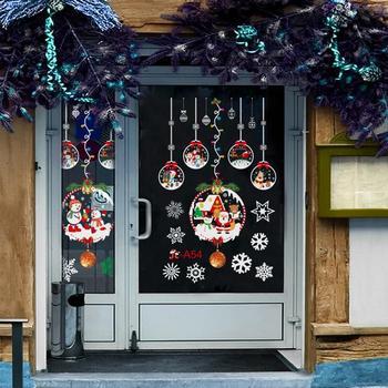 Merry Christmas Decor Window Stickers Santa Elk Wall Sticker For Christmas Home Door Window Display Decor Happy New Year 2021 недорого