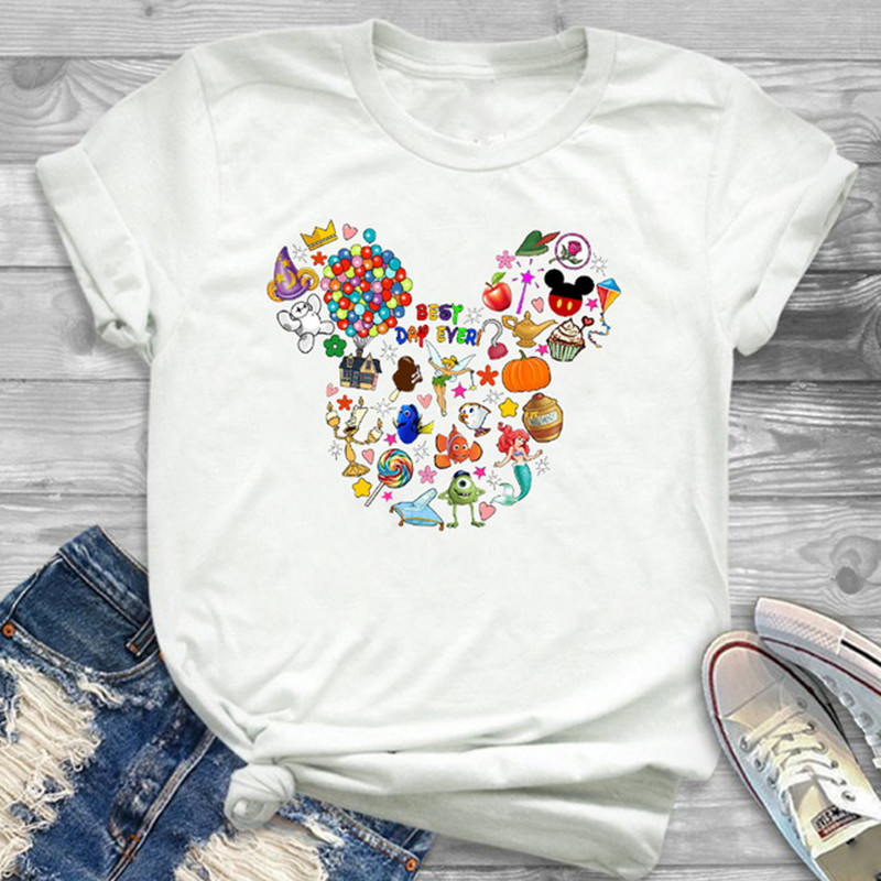 New Arrival Women's Cartoon Print Tshirts Funny Mouse Ear Printed T Shirt Fashion Casual Short Sleeve Tops Streetwear Clothes