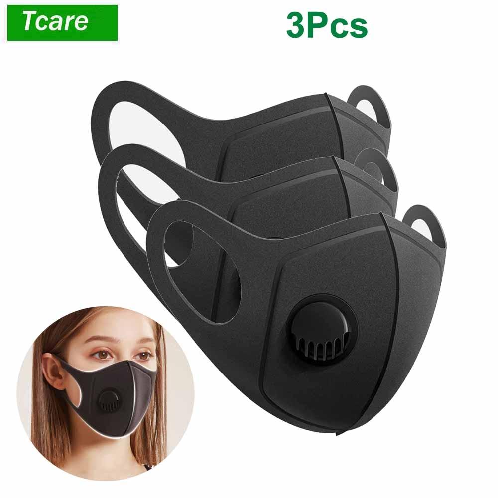 3Pcs/Lot Black Sponge  Mask PM2.5 Breathing Filter Valve Face Masks Reusable Mouth Cover Anti Fog Haze Respirator Men Women