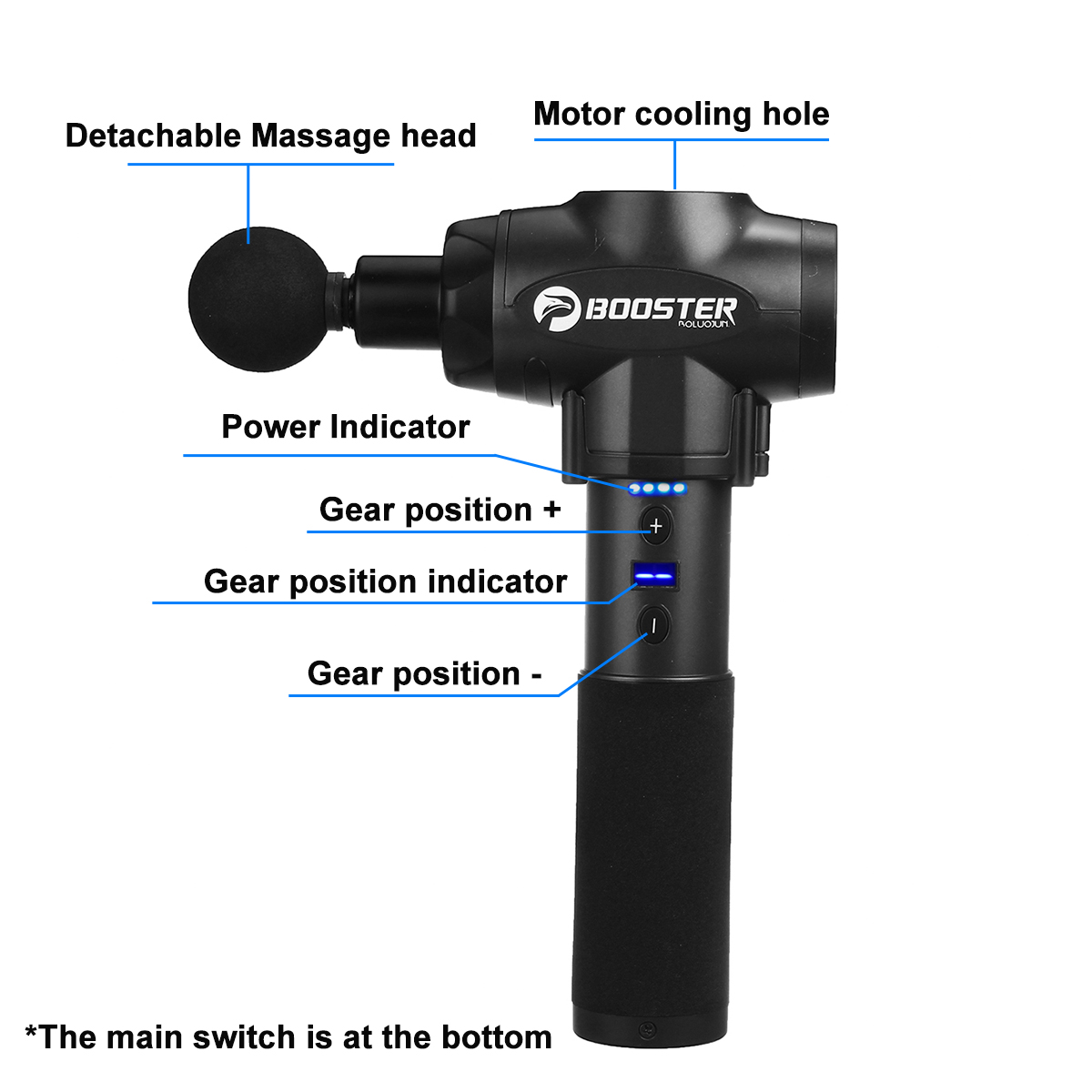 Booster 9 Gear Massage Gun Cordless Muscle Stimulator Deep Tissue Massager Device Body Relaxation Slimming Shaping Pain Relief - 3