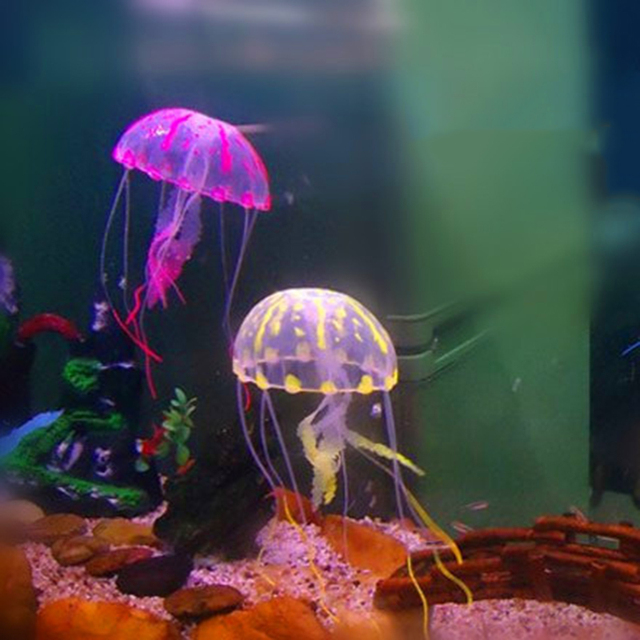 1pc Colorful Artificial Glowing Effect Jellyfish Fish Tank Aquarium Decor Mini Submarine Ornament Decoration Aquatic Pet Supplie 5