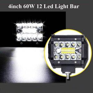 """Image 5 - Barre lumineuse de travail lumière Led Bar, phare antibrouillard, pour camion, pour bateau, 4x4 Combo, 60W, 4 """", phare 12V"""
