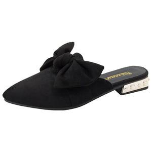 Image 1 - حذاء نسائي من SWYIVY مزود بغطاء للأصابع بنصف نعال لعام 2019 حذاء نسائي صيفي مزخرف بنحل مثير بمقدمة مدببة حذاء نسائي غير رسمي