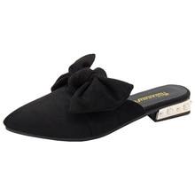SWYIVY Womans Mulers รองเท้ารองเท้าแตะครึ่งรองเท้าแตะ 2019 ฤดูร้อนเย็บปักถักร้อย Bee Lady สไลด์เซ็กซี่ Pointed Toe หญิง Casual Mulers