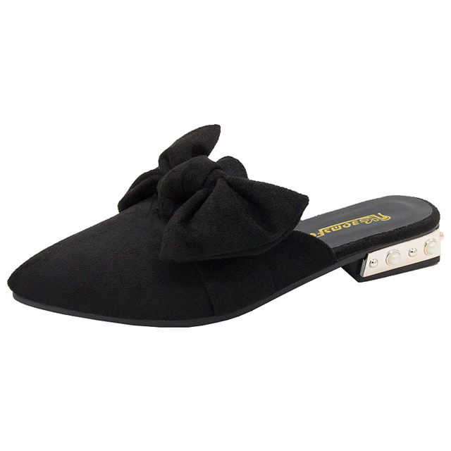 SWYIVY Womans Mulers Shoes Toe Cover Half Slippers 2019 Summer Embroidery Bee Lady Slides Sexy Pointed Toe Female Casual Mulers