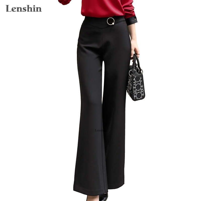 Lenshin Pantalones De Pierna Ancha Negros Para Mujer Pantalones Largos Informales Lisos Elegantes Estilo De Oficina Para Mujer Pantalones Y Pantalones Capri Aliexpress