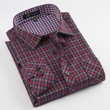 גברים של ארוך שרוול מוברש משובץ שמלת חולצה אחת תיקון כיס נוח עבודה מזדמן רגילה fit קלאסי בדק חולצות חולצות