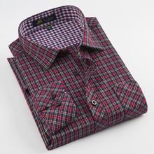 Chemise à manches longues à carreaux brossée pour hommes, avec poche simple à Patch, confortable pour le travail, chemise vérifiée classique, à coupe régulière, décontracté