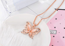 Women Lady Rose Gold Opal Butterfly Pendant Necklaces Sweater Long Chain Necklace Exquisite Sweet Gift Collar De Moda Ожерелье(China)