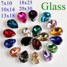 Strass en verre en forme de goutte à coudre avec griffe, pierres en cristal, Strass, Base en métal, boucle, décoration de mariage