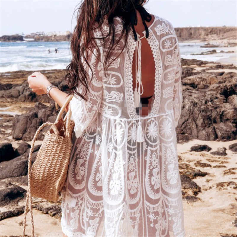 Bkning Ricamo Coverups per Le Donne Tunica Beach Cover Up Dress Solido Camicetta Beachwear Del Manicotto Del Merletto Dell'involucro Abiti Parei Bianco