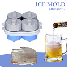 4 Grids Cute Whiskey Ice Mold 3D Crocodile Head Lattice Cover Box Food-Grade Cream Maker Bar Kitchen Tool