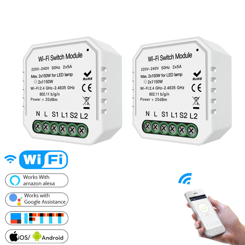 WiFi Smart Light Switch 2 Gang 2 Way Diy Smart Life/Tuya APP Remote Control Works With Alexa Echo Google Home IFTTT