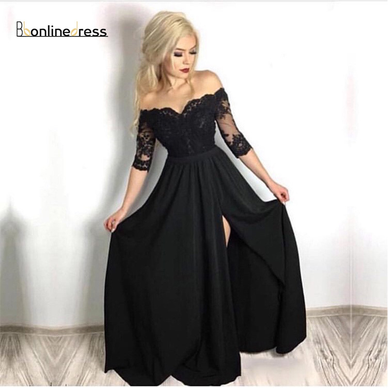 Off The Shoulder Prom Dresses With Half Sleeves Front Split Black Vestidos De Formal Prom Gowns Women Formal Prom Party Dresses