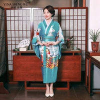Yukata Women Japanese Kimono Traditional Dress with Elegant Bow Knot Sexy Oriental Women Evening Dress Stage Costumes