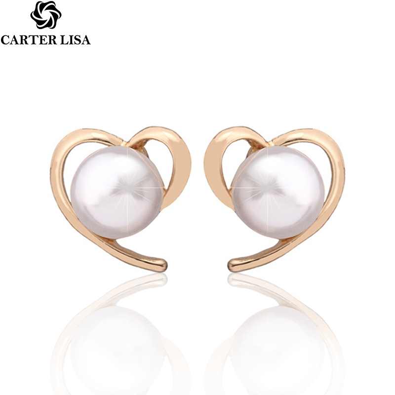 CARTER LISA Korea Unique Elegant Women Fashion Cute Pearl Stud Earrings Personality Heart Shape Ear Accessories Statement Jewelr
