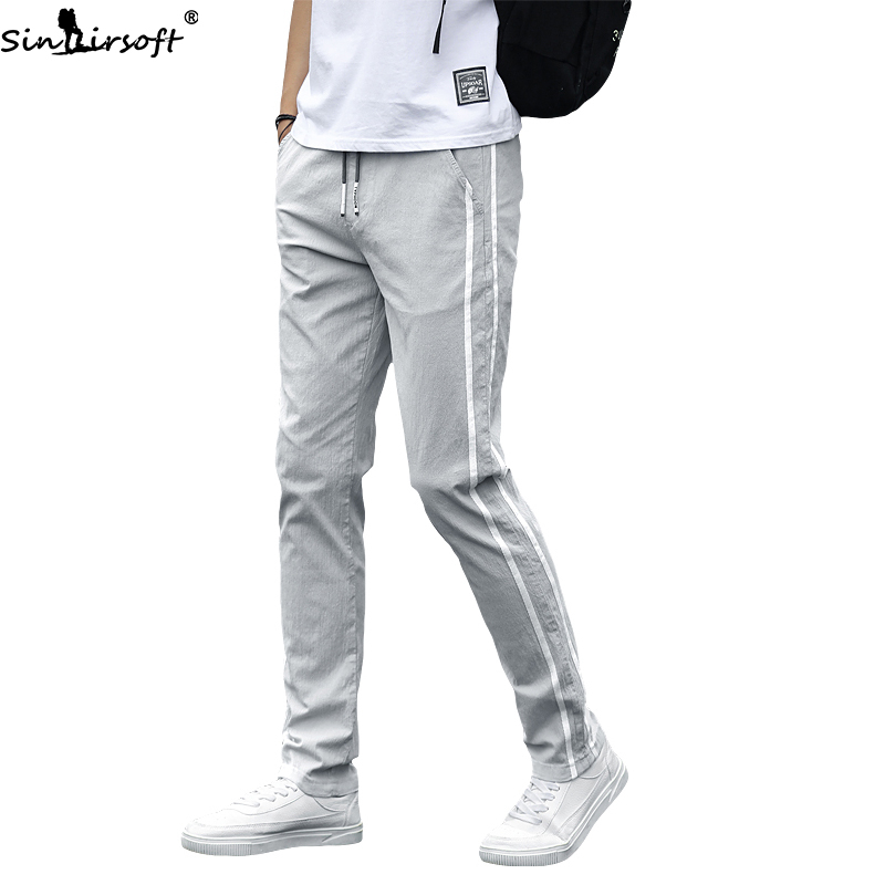 Men's Spring And Summer New Thin Elastic Waist Casual Pants Men Fashion Trend Loose Stretch Straight Sports Pants Youth Wear