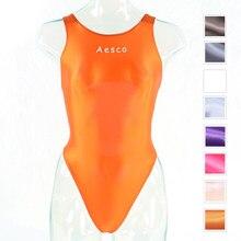 Bañador de una pieza para mujer, traje de baño de hilo en T con horquilla alta brillante de aceite, medias ajustadas sexys para el día del agua en la piscina XCKNY AESCO