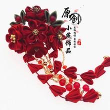 Hairpin Wine Hanfu-Photography Kanzashi Sakura Kimono Headdress Japanese-Style Chinese