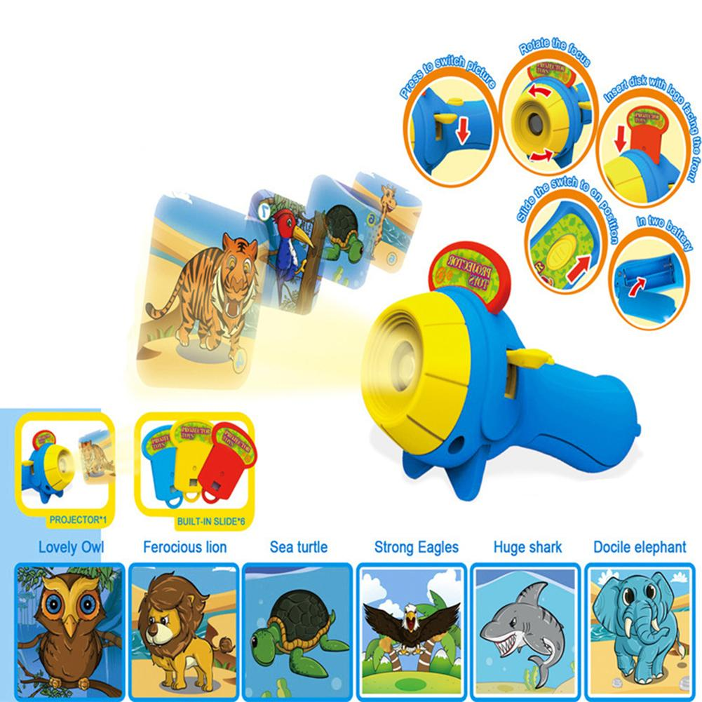 Kid Animal Pattern Projector Flashlight Torch Toy Sleeping Story Education Gift