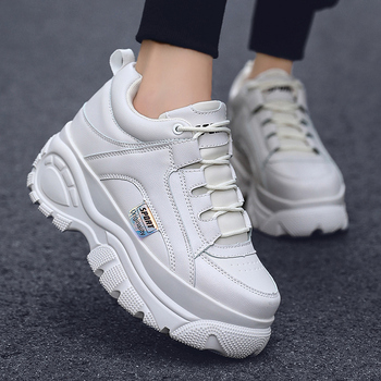Fashion Thick Sole Women Sneakers Leather Platform Female Casual Shoes Chunky 2019 Autumn Winter Creepers XU128