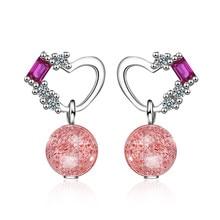 Romantic Love Heart Crystal 925 Sterling Silver Lady Stud Earrings Original Jewelry For Women Wedding Gift