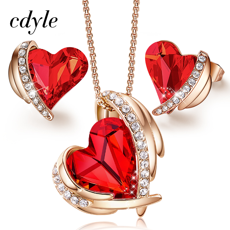 Cdyle Women Gold Jewelry Set Embellished with Red Crystal from  Swarovski Angel Rose Gold Necklaces and Earrings Gift for WomenJewelry  Sets