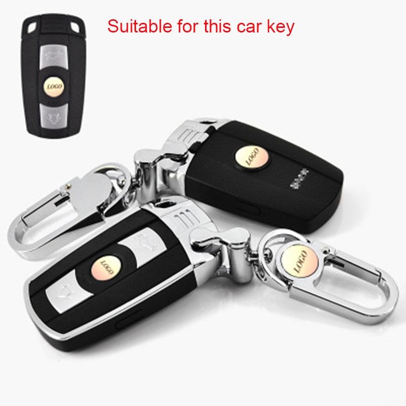 Car Key Case For BMW E90 E60 E70 E87 3 5 6 Series M3 M5 X1 X5 X6 Z4 Plug-in Key Style Leather Car Key Cover Shell Car Keychain