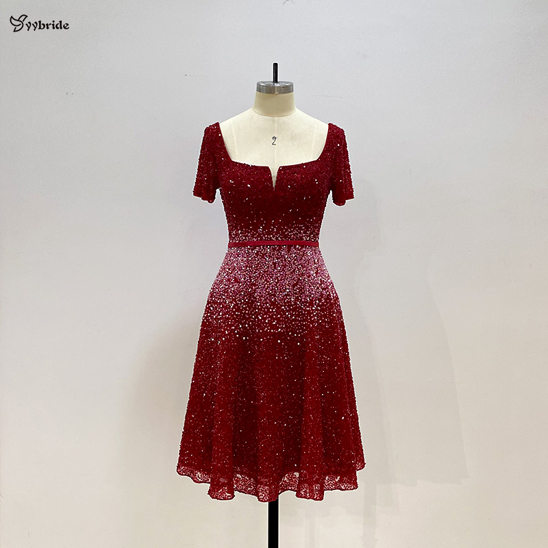 Yybride New Bespoke Occasion Red Color Beading Prom Dresses For Christmas Party Dresses Short  Sleeves Knee Length Dresses