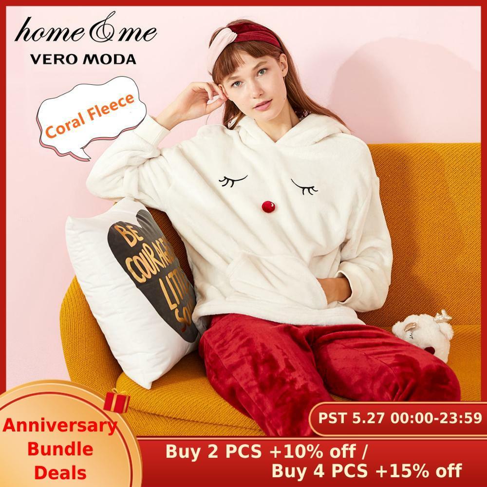 Vero Moda Women's Coral Fleece Hooded Lounge Wear Pajamas Sets | 31948L504