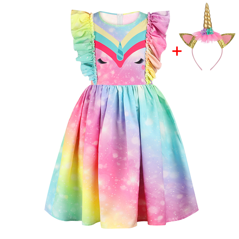 Unicorn Party Dress For Girls 2020 Summer Rainbow Print Princess Dress Kids Girl Birthday Dress Teen Children Clothing 8 10 Year