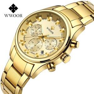 Image 3 - Мужские наручные часы WWOOR, роскошные золотые наручные часы с хронографом, 2019