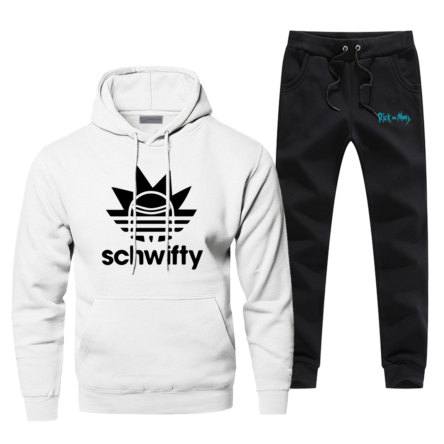 Rick And Morty Hoodies Pant Set Men Schwifity Cartoon Two Piece Set Tops Sweatshirt Sweatpants Sportswear Autumn 2 PCS Tracksuit
