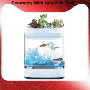 Image 1 - Xiaomi mijia geometria mini tanque de peixes preguiçoso usb carregamento auto limpeza aquário com 7 cores led luz do escritório em casa aquário