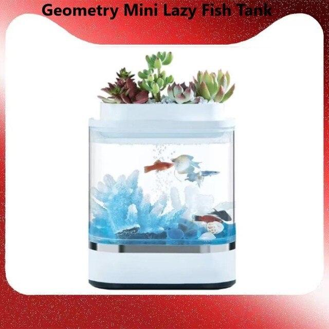 Xiaomi mijia geometria mini tanque de peixes preguiçoso usb carregamento auto limpeza aquário com 7 cores led luz do escritório em casa aquário