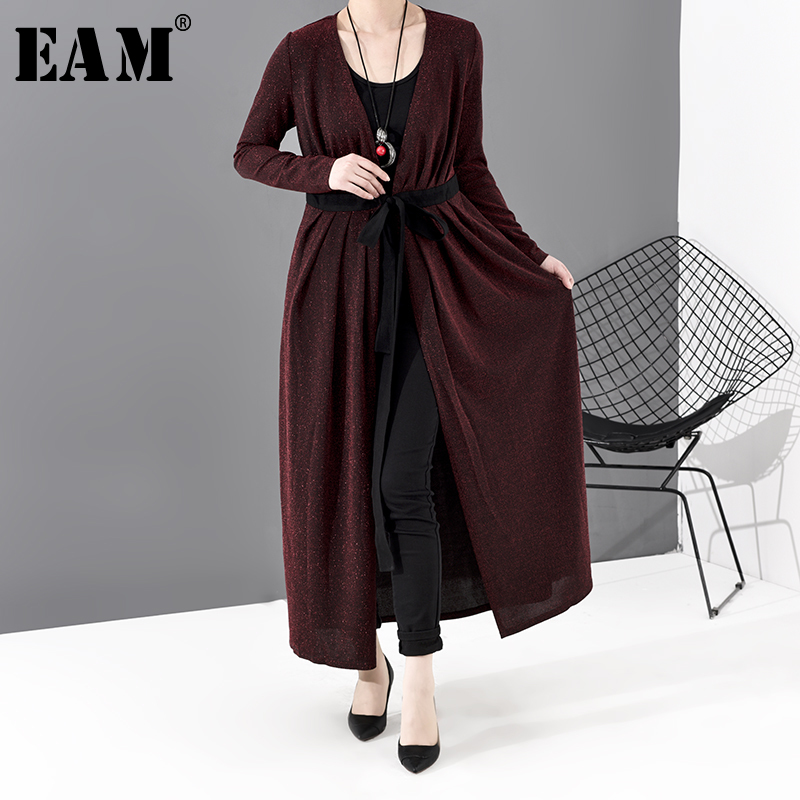 [EAM] Women Bandage Long Temperament Trench New V-collar Long Sleeve Loose Fit Windbreaker Fashion Tide Spring 2020 JO572