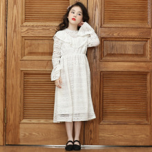 Girls Dress Winter Lace Long Sleeve for 4 6 8 10 12 Years Old Girl Dress for Kids White Cute Princess Lace Clothes Dresses 2018 new summer girls plaid dress cute cotton flare sleeve kids dresses for girls cartoon print princess dress 3 4 6 8 10 years