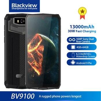 Перейти на Алиэкспресс и купить Blackview BV9100 IP68 прочный 6,3 ''FHD + 13000mAh смартфон 4 Гб 64 Гб Helio P35 Восьмиядерный Android 9,0 мобильный телефон 30 Вт Быстрая зарядка